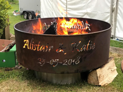 personalised fire pits at a wedding
