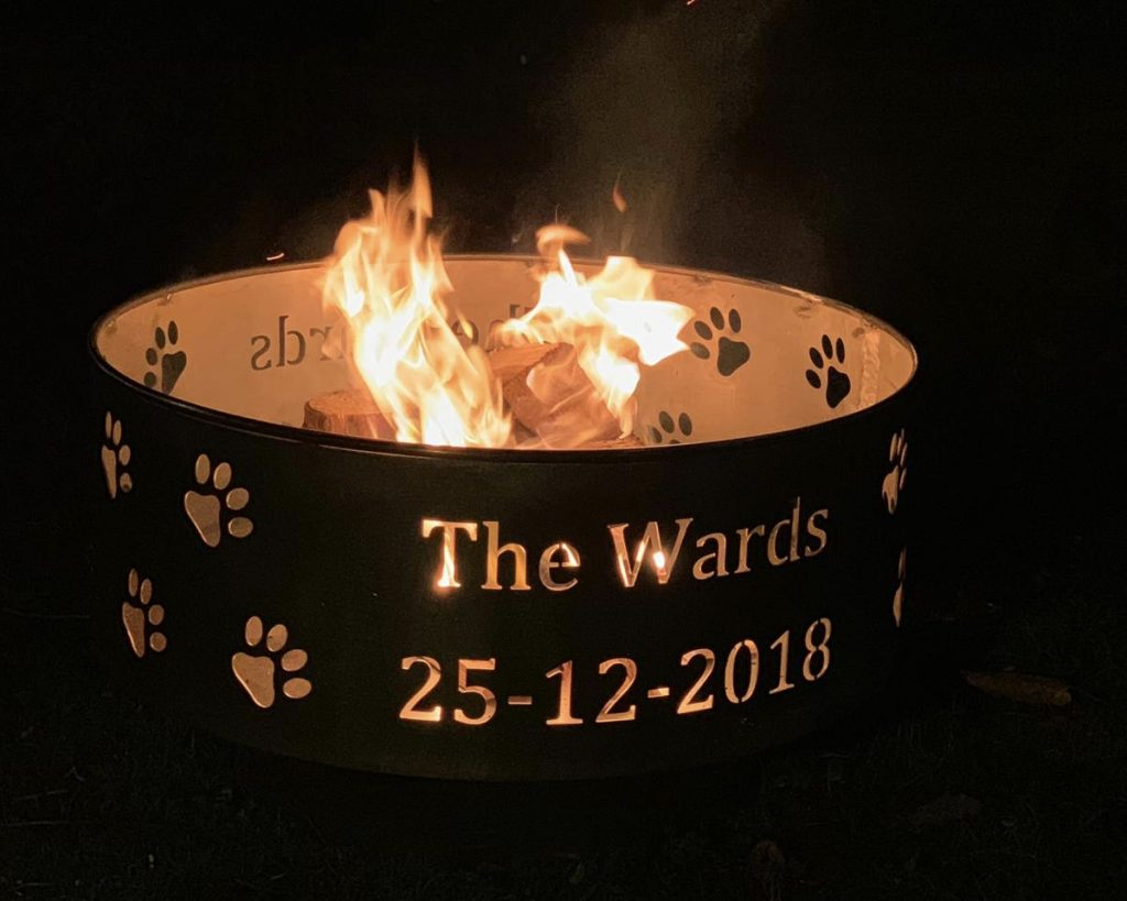 personalise fire pits at night